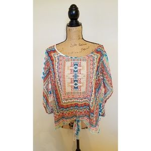 One World Live and Let Live Top Aztec Boho XL